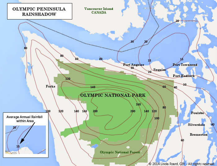 Rainshadow Map of the Olympic Peninsula